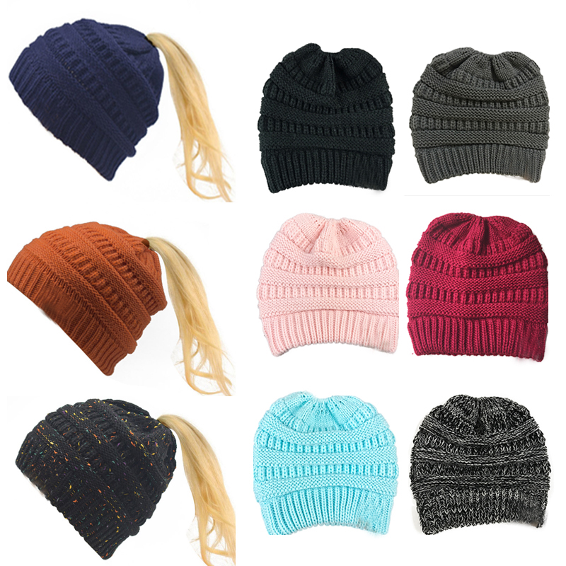 Dropshipping Horsetail hat Winter warm Branded Female cap hat For Womens foldable Knitted casual Beanies Cap Thick outdoor hat