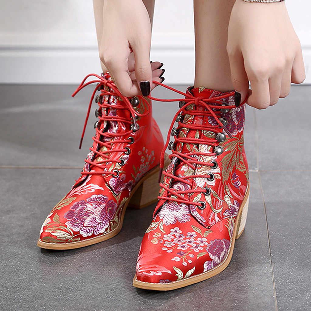 Vintage Bohemian kadın kısa çizmeler Moda Kumaş Nakış Dantel-up Çizmeler Sivri Burun Ayakkabı kadın Çin Tarzı yarım çizmeler
