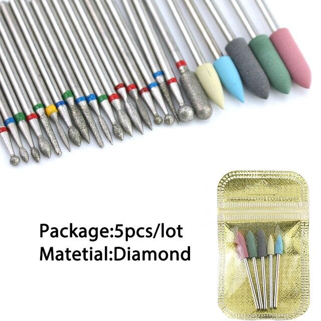 6/7 Diamond Nail Drill Bits Set Cutters Manicure Silicon Ceramic Stone Electric Milling Cutter for Pedicure Manicure Machine 2