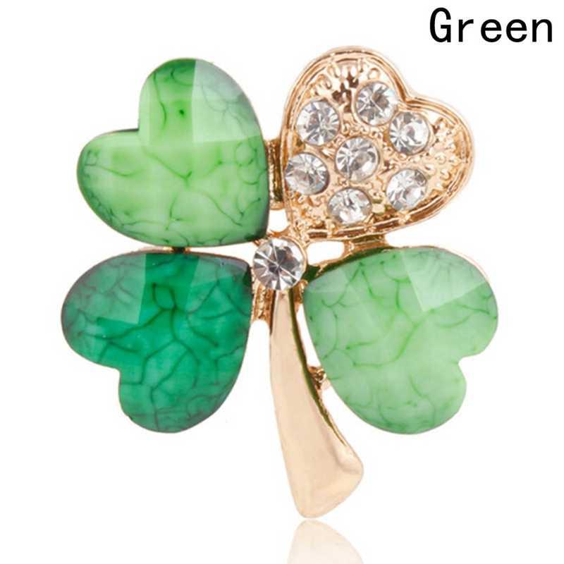 Зеленые четырехлистные броши в форме клевера для женщин хрустальные стразы нагрудные булавки для женщин ювелирные изделия