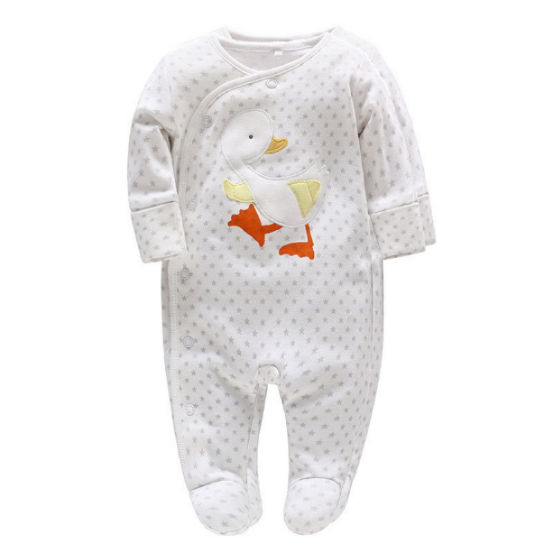 Picturesque Childhood New Born Baby Boy Footies Star And Cute Duck Print Cottons Covered Button O-neck Babygrow Costume 105