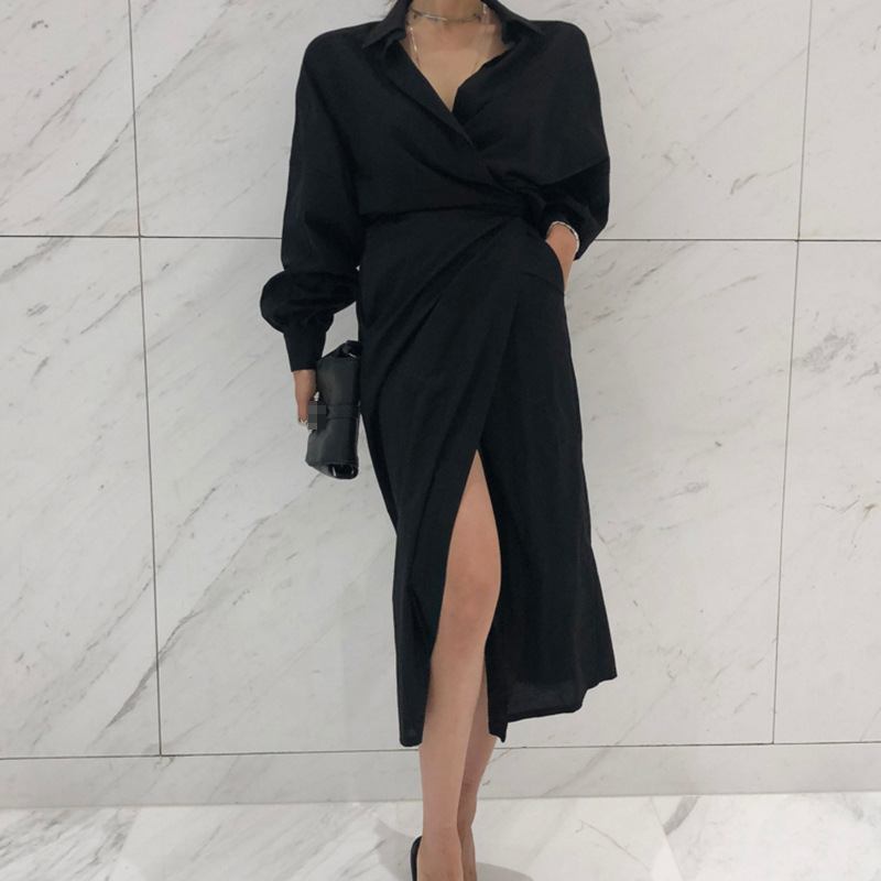 2019 Fashion Shirt Dress OL Commuting Irregular Tie up Solid Color Temperament Black Shirt Dress Puff Sleeve Clothes Shirt Women in Dresses from Women 39 s Clothing