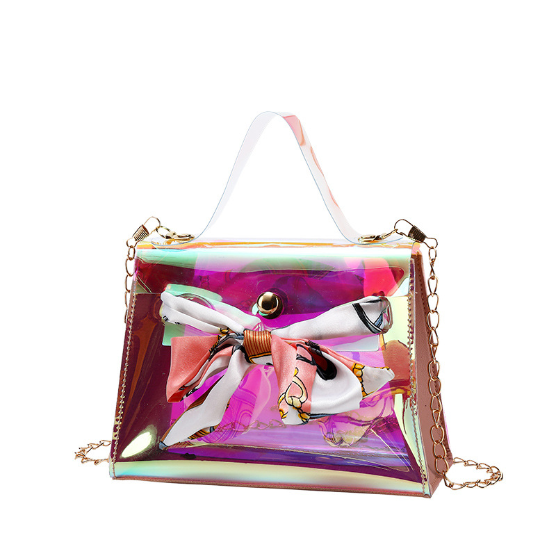 2020 Spring Summer Korean-Style Girl's Women Laser Pouch New Style Shoulder Crossbody Bow Square Sling Messager Bag