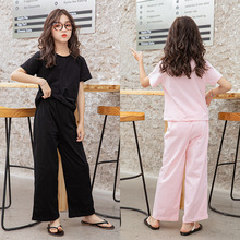 Summer Teenage Girls Tracksuit Fashion Cotton Solid T Shirt+Wide Leg Pants Casual Children Sport Wear Outfit Suit Teen Clothing in summer 2016 kindergarten children wear new uniforms casual fashion sport suit