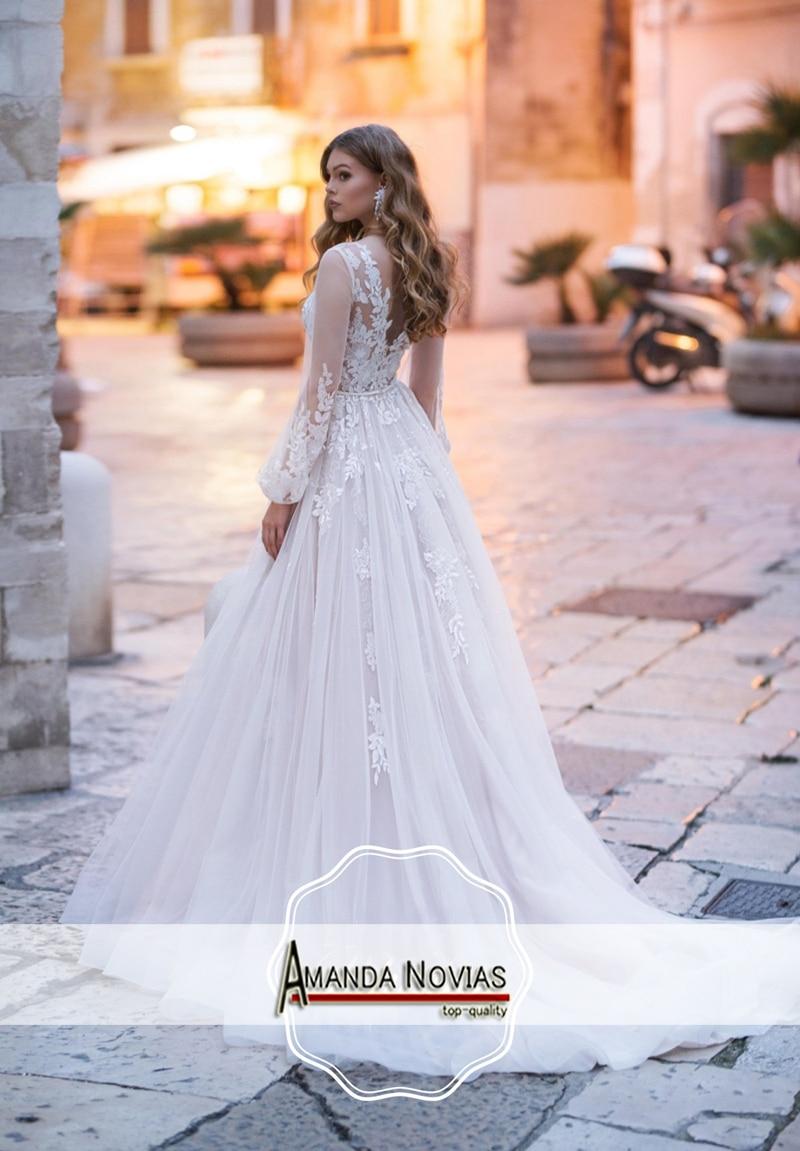 Flash Deal Simple Beach Wedding Dress With Puffy Sleeves White Wedding Dress V Back September 2020
