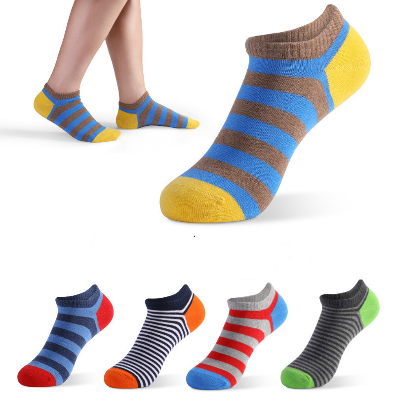 PEONFLY Summer Trendy Happy Socks Men Cotton Boat Man Socks Interest Funny Originality Series Harajuku Ankle Sock Stripe