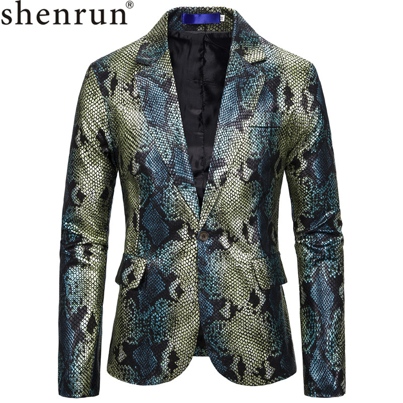 Shenrun Men Blazer Causal Jacket Green Silver Suit Jackets King Fish Scale Print High Quality Stage Host Singer Musician Costume