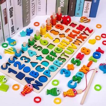 Montessori drewniane zabawki edukacyjne dzieci zajęty deska matematyka wędkarstwo dzieci drewniane przedszkole Montessori zabawka liczenie geometrii tanie i dobre opinie Small fire child Drewna 25-36m CN (pochodzenie) A-A-1-1 Unisex Do nauki can not eat NONE