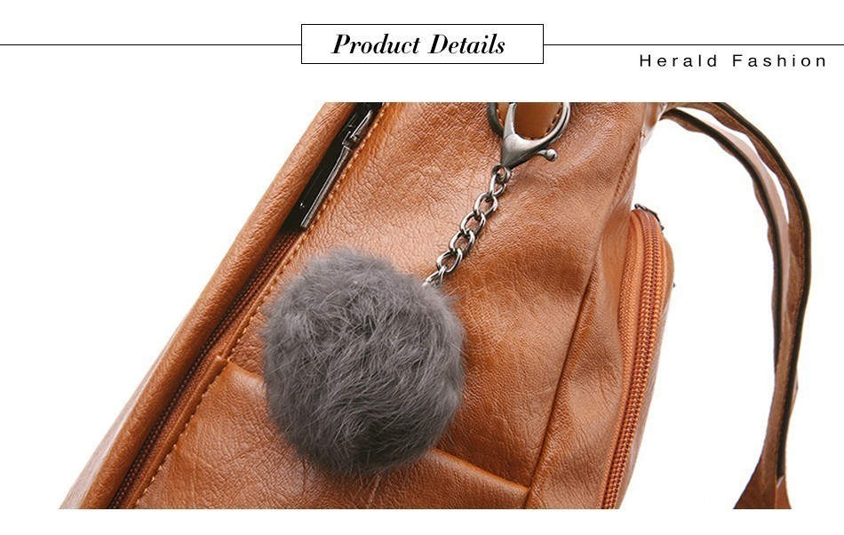 Hfd026c5909c14fc08fa4556a74f8c675r HERALD FASHION Quality Leather Anti-thief Women Backpack Large Capacity Hair Ball School Bag for Teenager girls Male Travel Bags