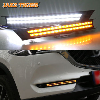 JAZZ TIGER 2PCS Yellow Flowing Turning Function Waterproof ABS Car DRL LED Daytime Running Light For Mazda CX-5 CX5 2017 2018