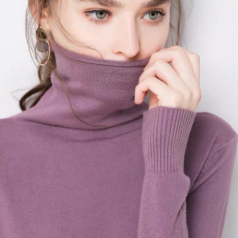 Pulls à col roulé en cachemire doux pour femme, chandail coréen à coupe étroite, collection automne hiver 2019