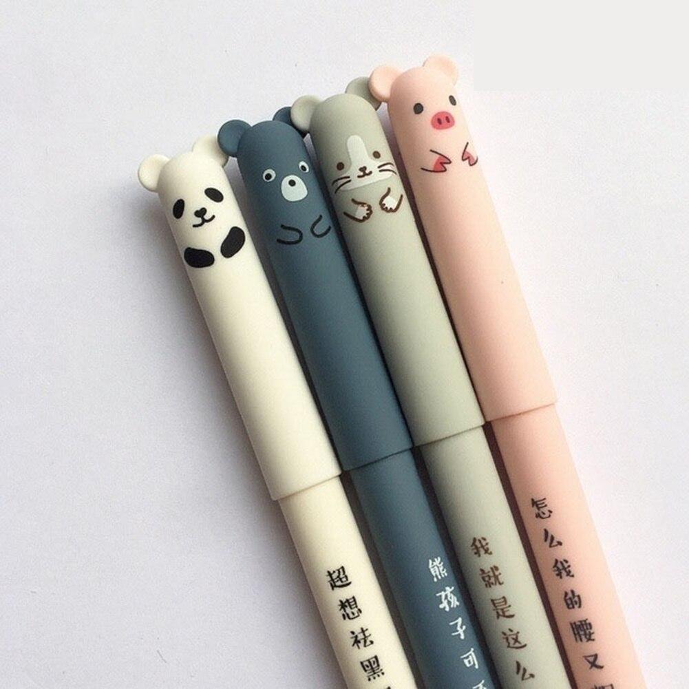 4 Pçs/lote Animais Dos Desenhos Animados Caneta Apagável Caneta 0.35 milímetros Bonito Panda Porco Canetas Gel Kawaii Para a Escrita Escolar Papelaria Novidade Meninas Presentes #