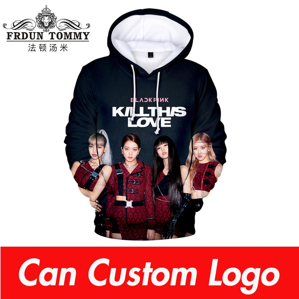 Korean Sweatshirt Kpop Blackpink Hoodie Sweatshirts Women Hip Hop 3D Print Black Pink Hooded Causal Blackpink Pullovers Clothes