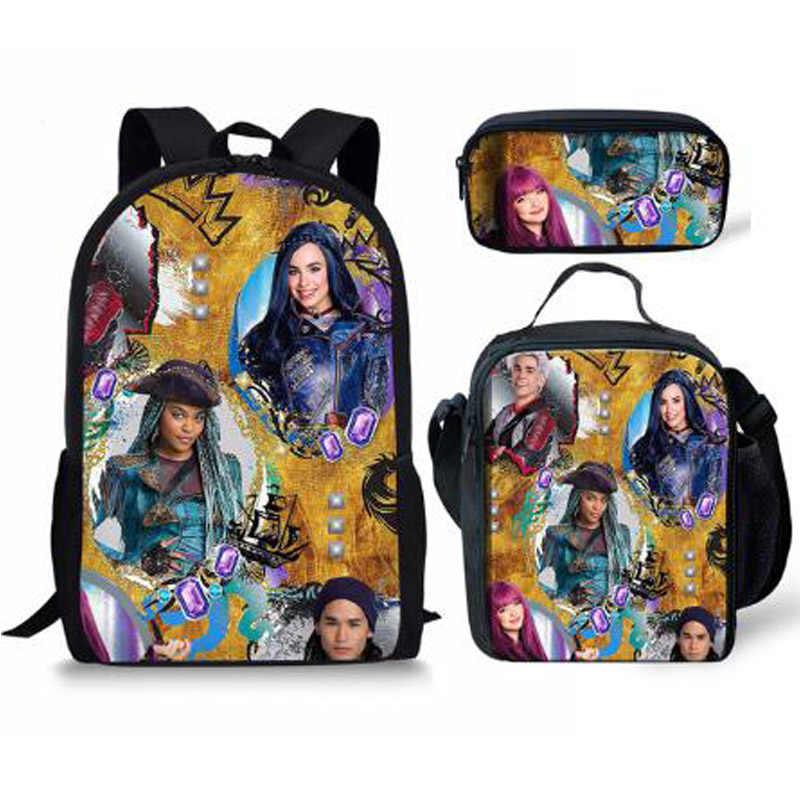 Nowy gorący potomkowie 3 sztuk zestaw z plecakiem szkolnym szkoły plecak dla nastolatków chłopców dziewczyny uczeń dziennik podróży torba tornistry dla prezenty