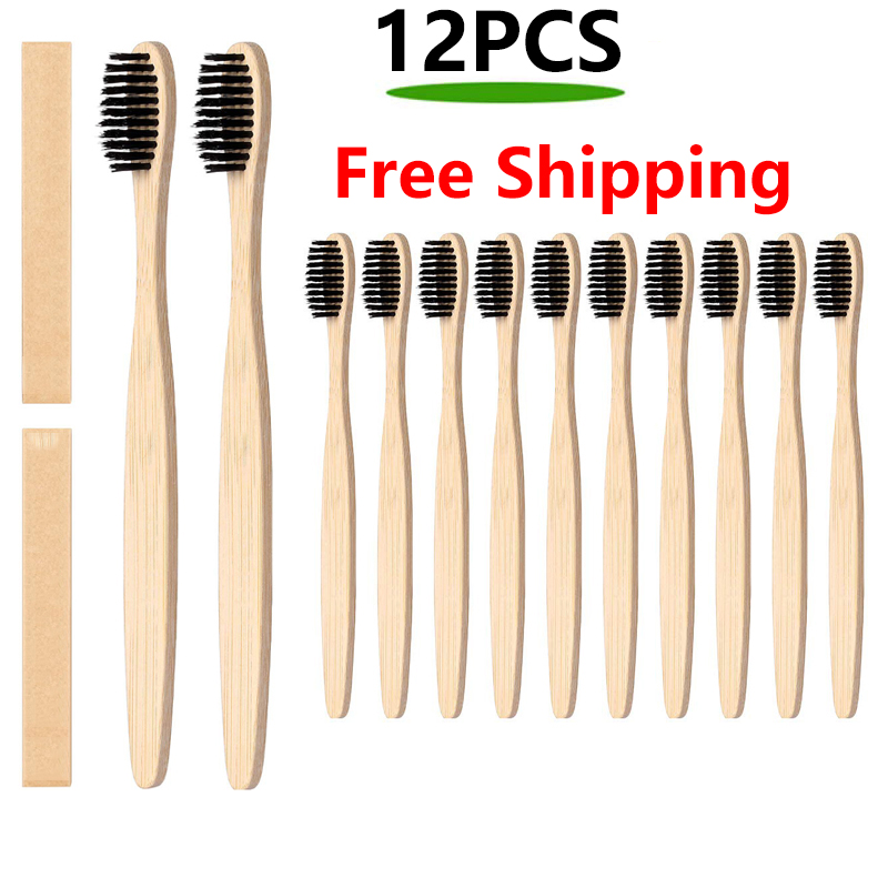 12pcs Eco btooth brush Natural Pure Bamboo Toothbrush table Soft Hair Tooth Brush Eco Friendly Brushes Oral Cleaning Care Tools image