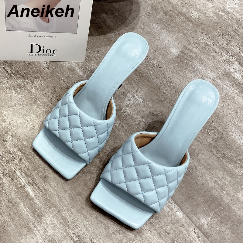 Aneikeh NEW Sexy PU Diamond Square Head Peep Toe High Heel Slippers Summer Fashion Slip On Thin Heels Slides Women Mules Party