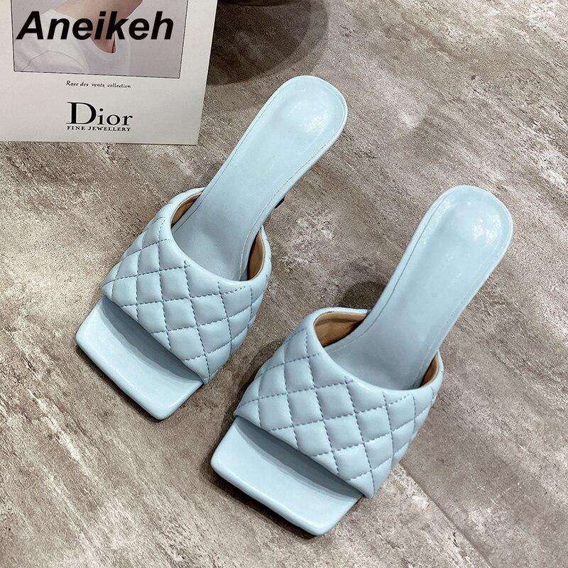 Aneikeh, nuevas zapatillas sexis de PU con punta cuadrada de diamante y punta abierta, zapatillas de tacón alto, moda de verano, deslizamiento en tacones finos, zapatillas de fiesta para mujer