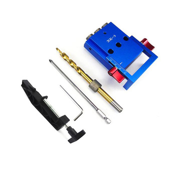 For Xk-3 Pocket Hole Jig Kit 3 Holes Woodworking Drill Guide Aluminium Oblique Drill Guide Locator Tools 9.5Mm Drill Bit Puncher