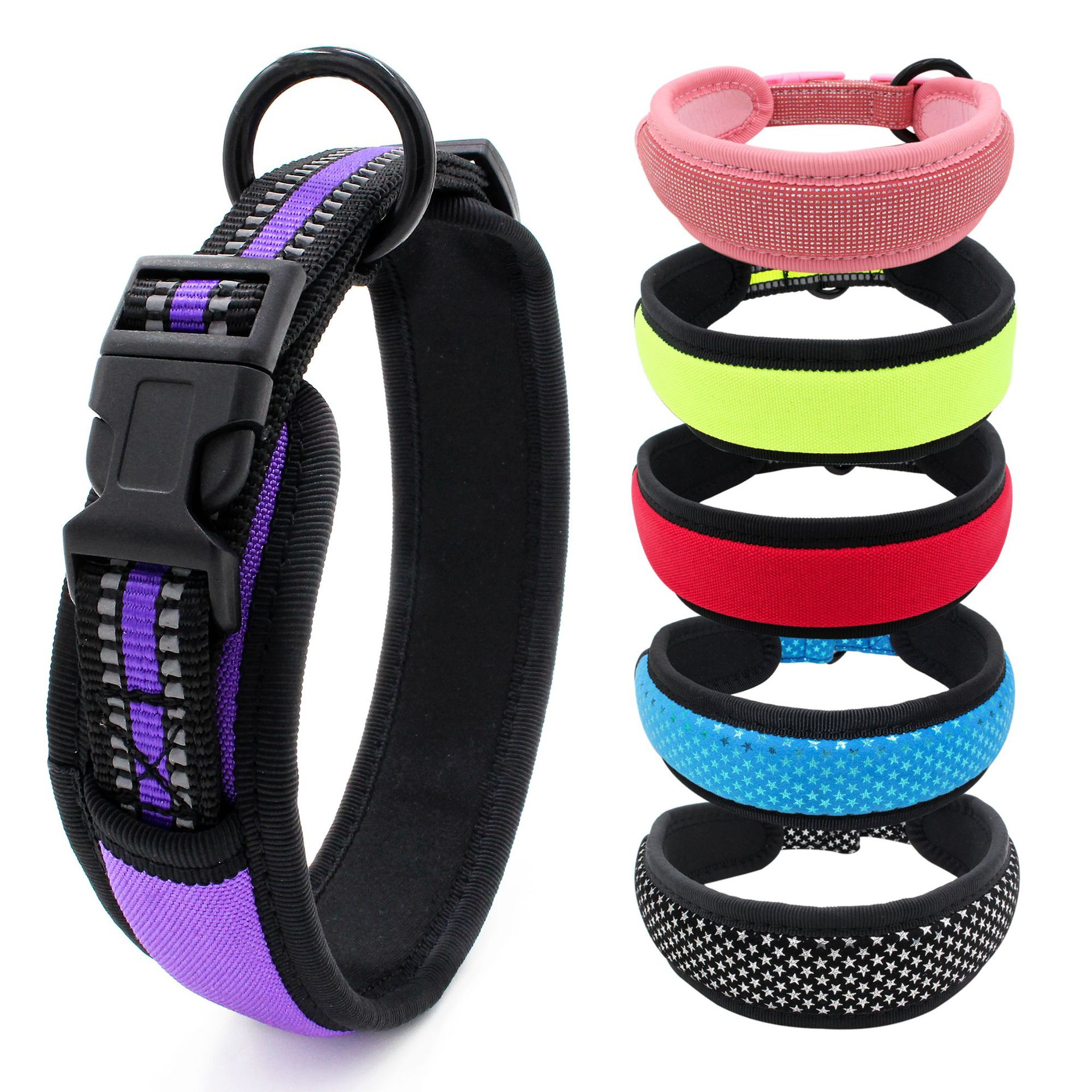 Jin Ling Jie New Style Diving Cloth Lining Pet Collar Release Buckle Bite-proof Protector Reflective Woven Tape Dog Neck Ring La
