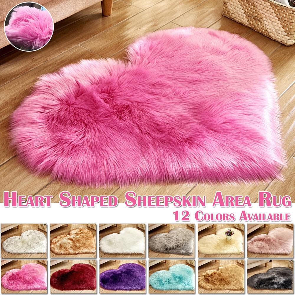 Heart Shape Fluffy Rugs Washable Faux Fur Rug For Kids Bedroom Home Decoration Sofas Cushions Mat Soft Carpet Sheepskin Rug D30 1