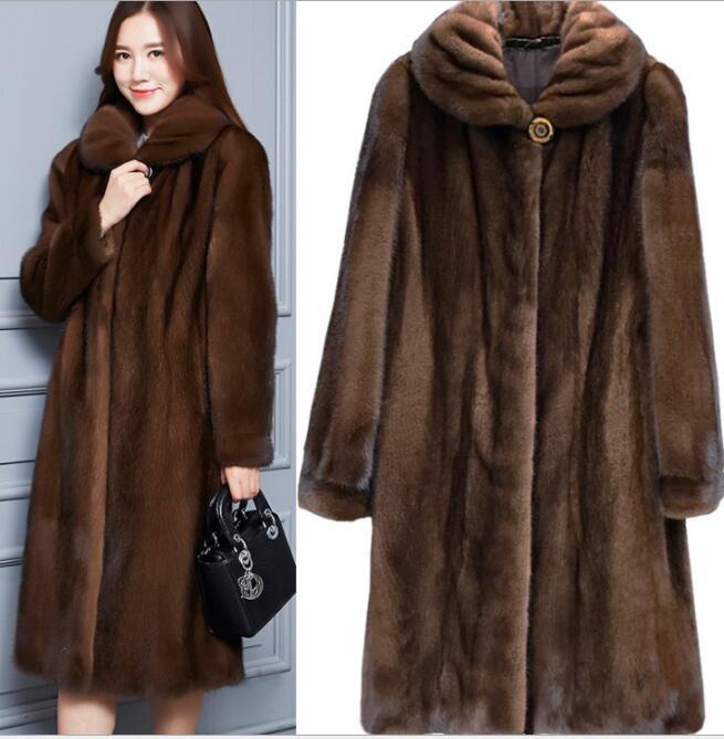 Women long jacket faux fur mink Fur coats winter-fall Casual faux fur coat large Sizes S/6XL Women Imitation fur outerwear