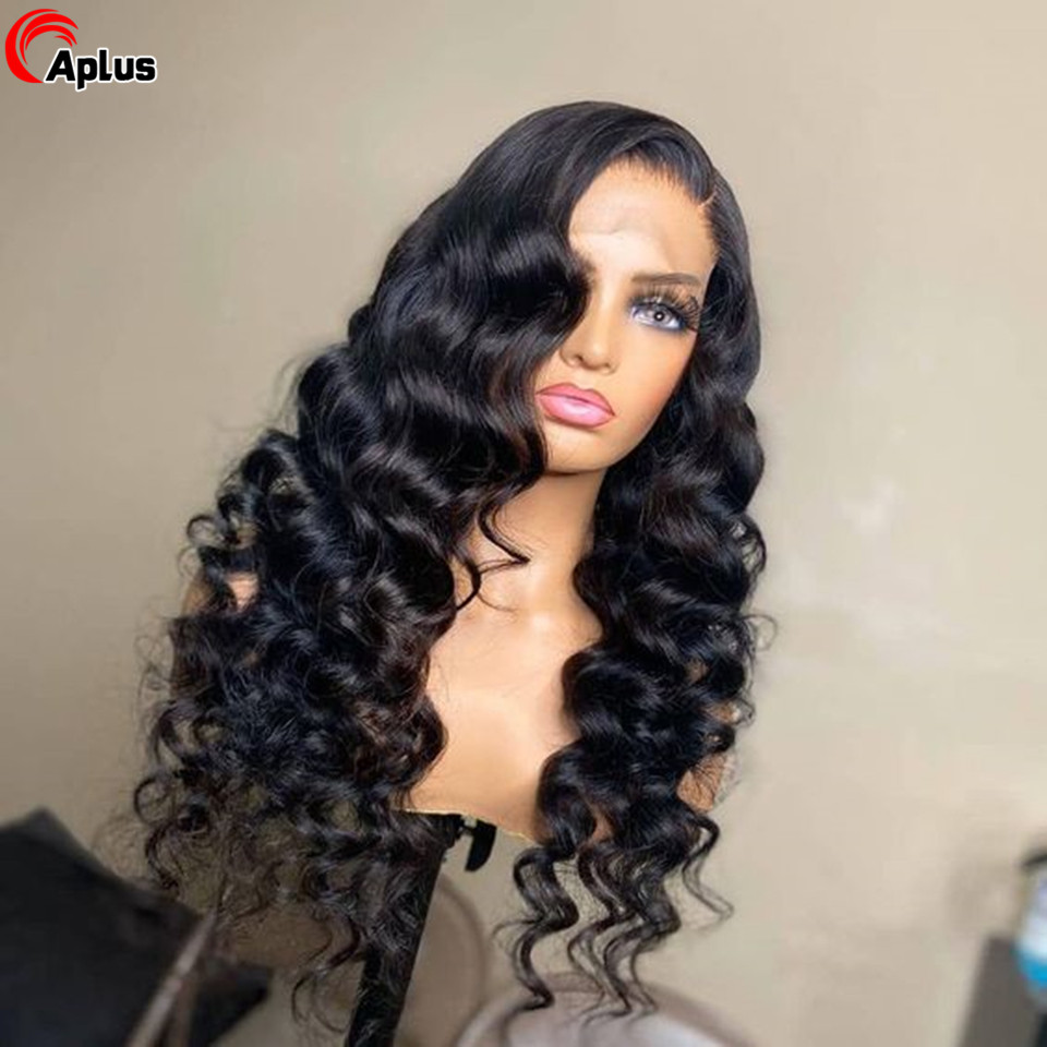 Wig Transparent Lace-Frontal Deep-Wave Pre-Plucked Loose Brazilian 4x4 HD Remy