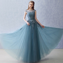 New Blue Banquet Evening Dress Shoulder Long Company Party Bridesmaid Royal Elegant Sexy