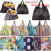 1PC Unisex Foldable Capacity Handy Shopping Bag Reusable Tote Pouch Recycle Storage Handbags Floral Colorful Sample Travel Bag
