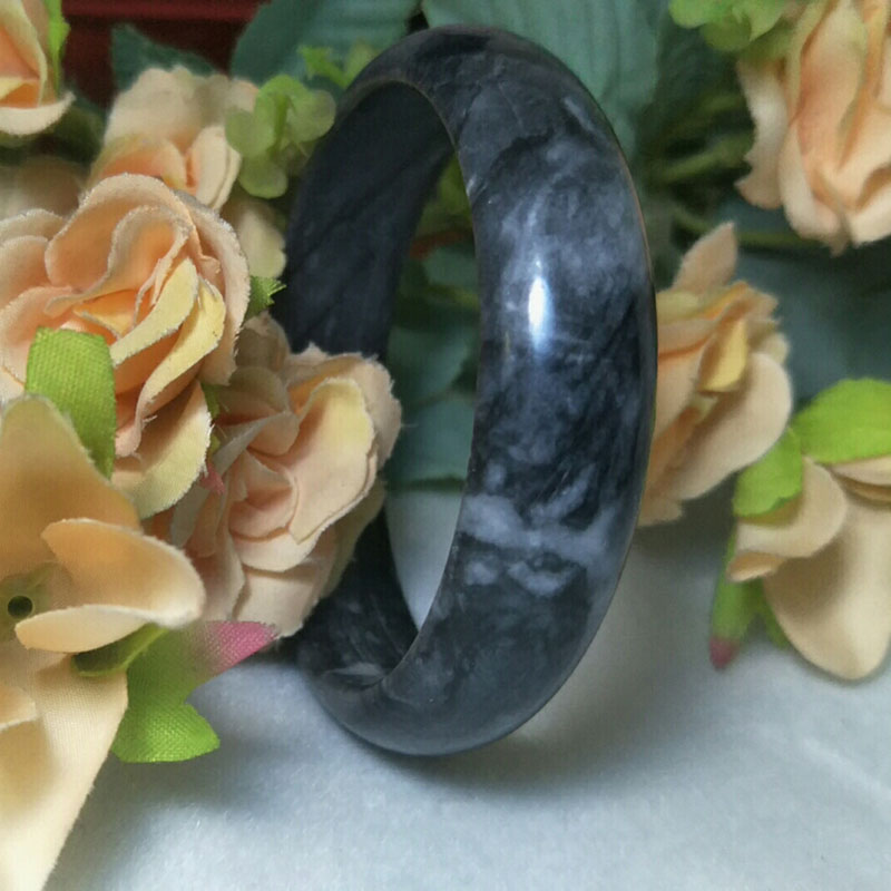Wholesale High Quality Natural Jade Bangles Grade A Pure Natural Stone Black And Black White Bracelet Fine Jade Jewelry