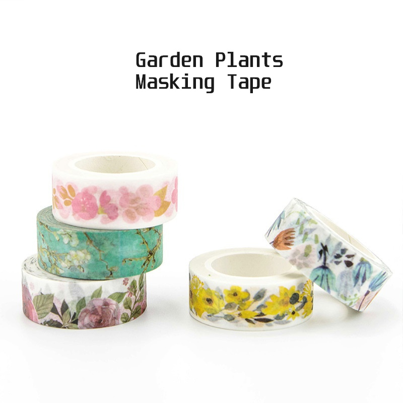 Garden Plants Flowers Paper Washi Tape Succulent Cherry Apricot Decorative Adhesive Masking Tape Diary Album Sticker A6342