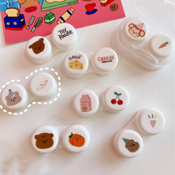Colored Contact Lens Case Cartoons Women Colored Contact Lenses Box Eyes Contact Lens Container Lovely Travel Kit Box
