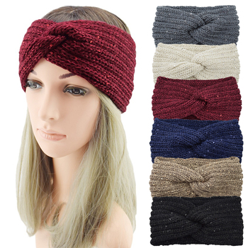 New Sequin Knitted Headband 2020 Autumn Winter Ear Warm Cross Knotted Turban Elastic Hair Band Headwrap Hair Accessories image