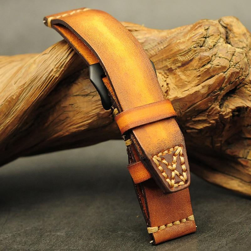 Onthelevel bracelet de montre Vintage 20mm 22mm 24mm 26mm bracelet pilote Double couche cuir boucle cachée pour Panerai fossile bracelet de montre