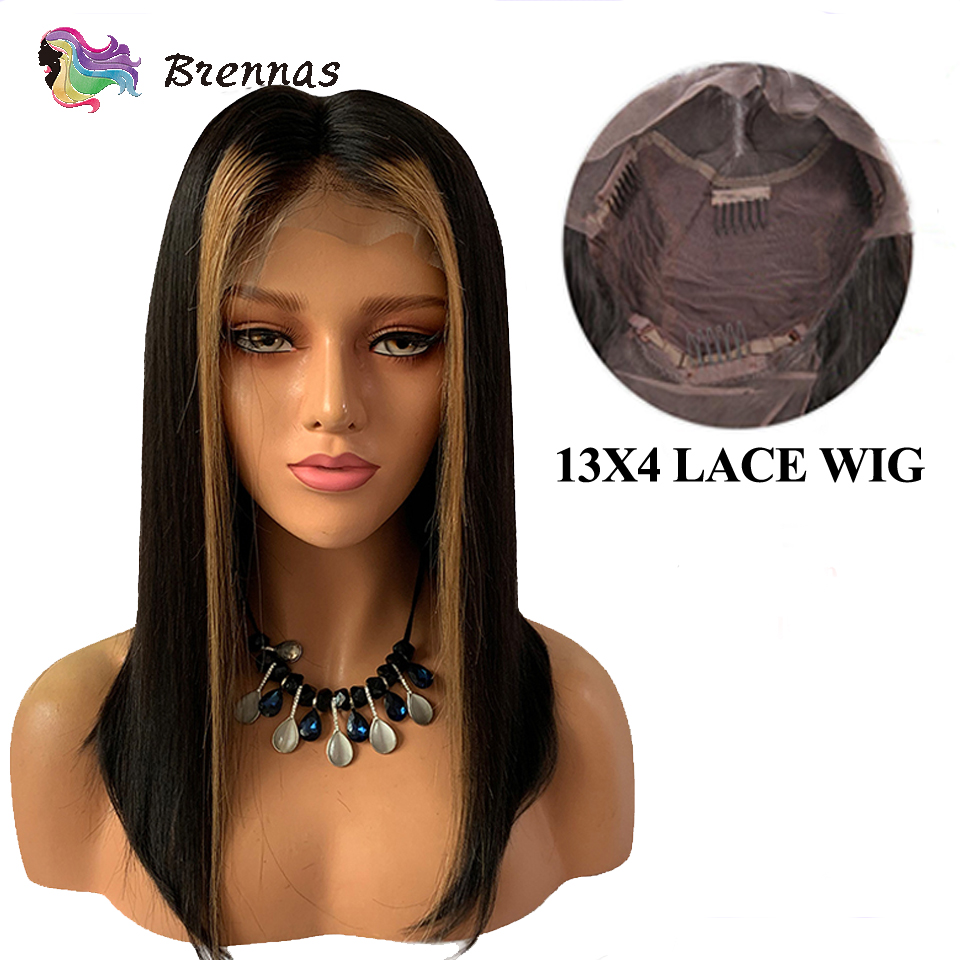 Ombre Straight Lace Front Wig #27 Honey Blonde Highlight Lace Wig Natural Black Color Brazilian Human Remy Hair For Black Women
