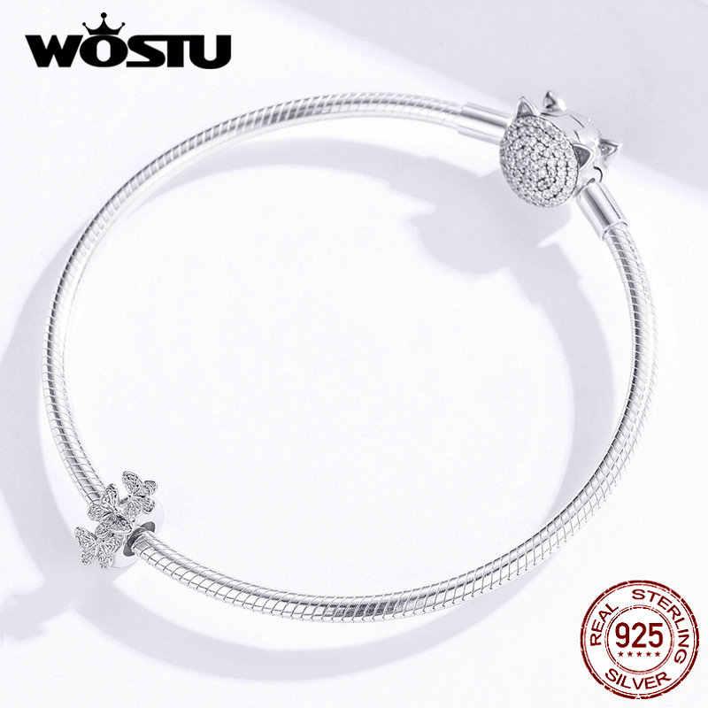 WOSTU 925 argent Sterling délicat papillon bouchon Silicone entretoise ajustement Original Bracelet & Bracelet bijoux à bricoler soi-même faisant DAC120