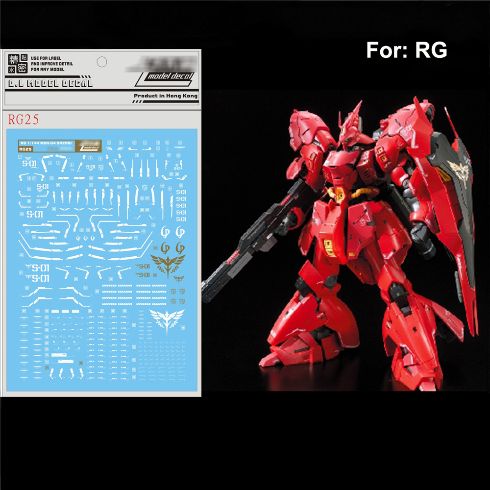 Unique DIY Water Decal Paste For Bandai RG 1/144 MSN-04 SAZABI Gundam Sticker Model Decoration Stickers