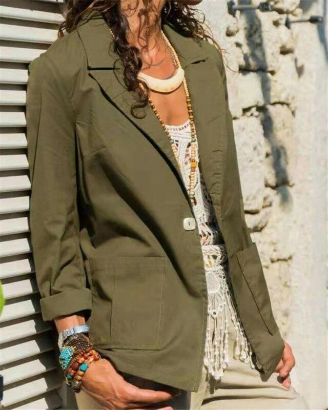 Women Sleeve Slim Long Casual Blazer Outwear Formal Jacket Top Career