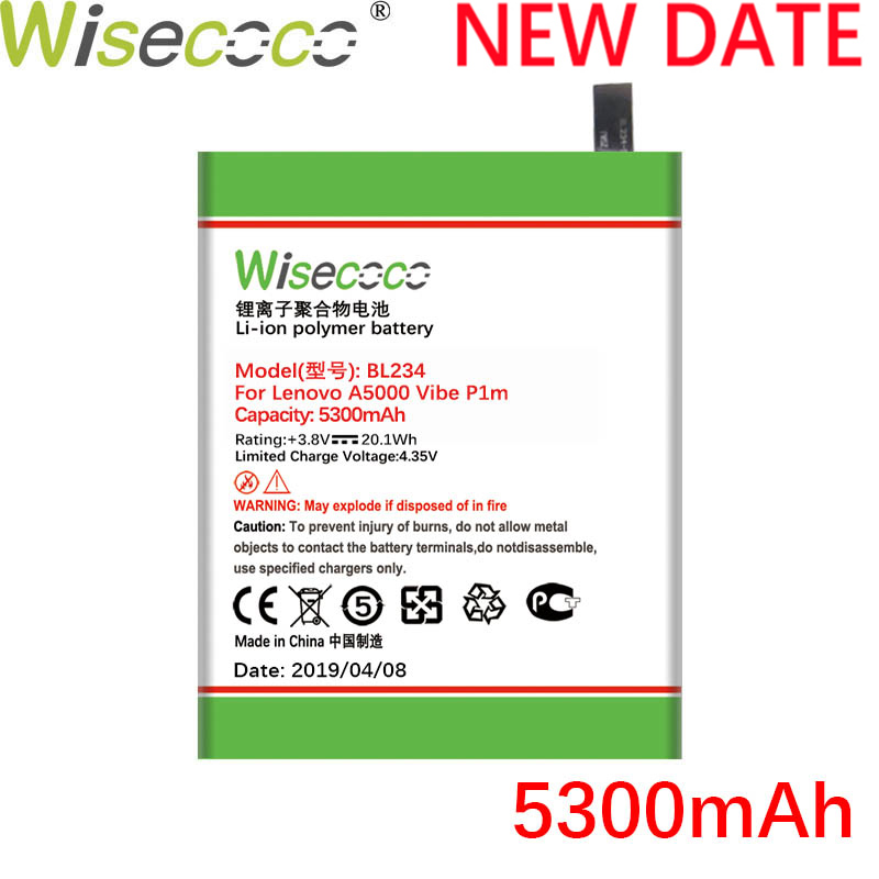 Wisecoco <font><b>BL234</b></font> 5300mAh New Battery For <font><b>Lenovo</b></font> A5000 Vibe P1M P1MA40 P70 P70t P70-T P70A P70-A Phone Replace+Tracking Number image