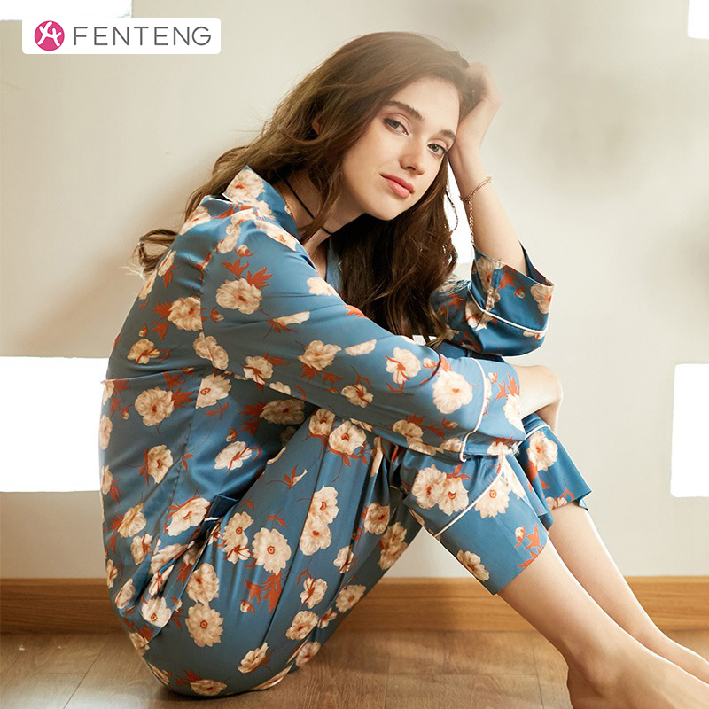 FENTENG Spring Long Sleeves Cardigan Women Suit Floral Print Homewear Comfortable Sleepwear Clothing Pajama J8911466