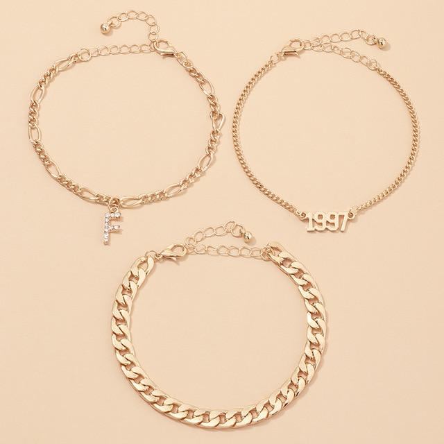 2020 mode or couleur cristal lettre Alphabet bracelets de cheville pour les femmes Boho plage numérique année Bracelet de cheville sur jambe pied bijoux