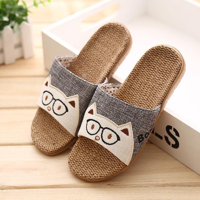 New Summer Men Linen Flip Flops Animal Prints Sandals Flat Non-Slip Linen Slides Home Slipper Man Casual Flax Beach Shoes 2020
