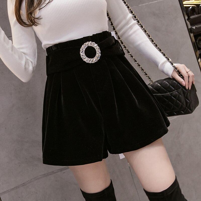Весенне-осенние бархатные женские шорты #0615 с поясом, пикантные широкие шорты с высокой талией, женские повседневные женские шорты с эласти...