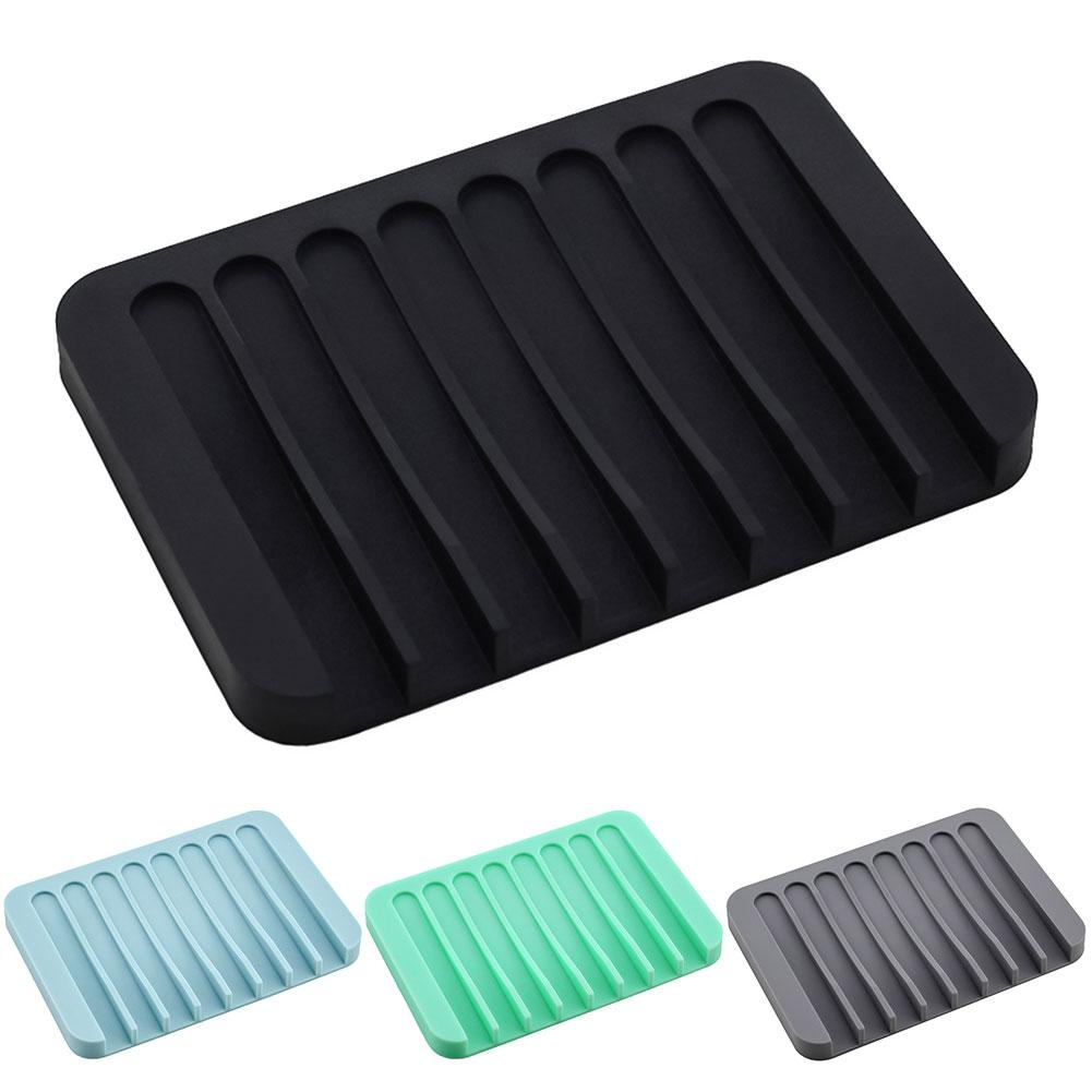 Bathroom Silicone Soap Holder Non Slip Soap Box Toilet Shower Tray Draining Rack Bathroom Gadgets Soap Dish Soap Tray Holder