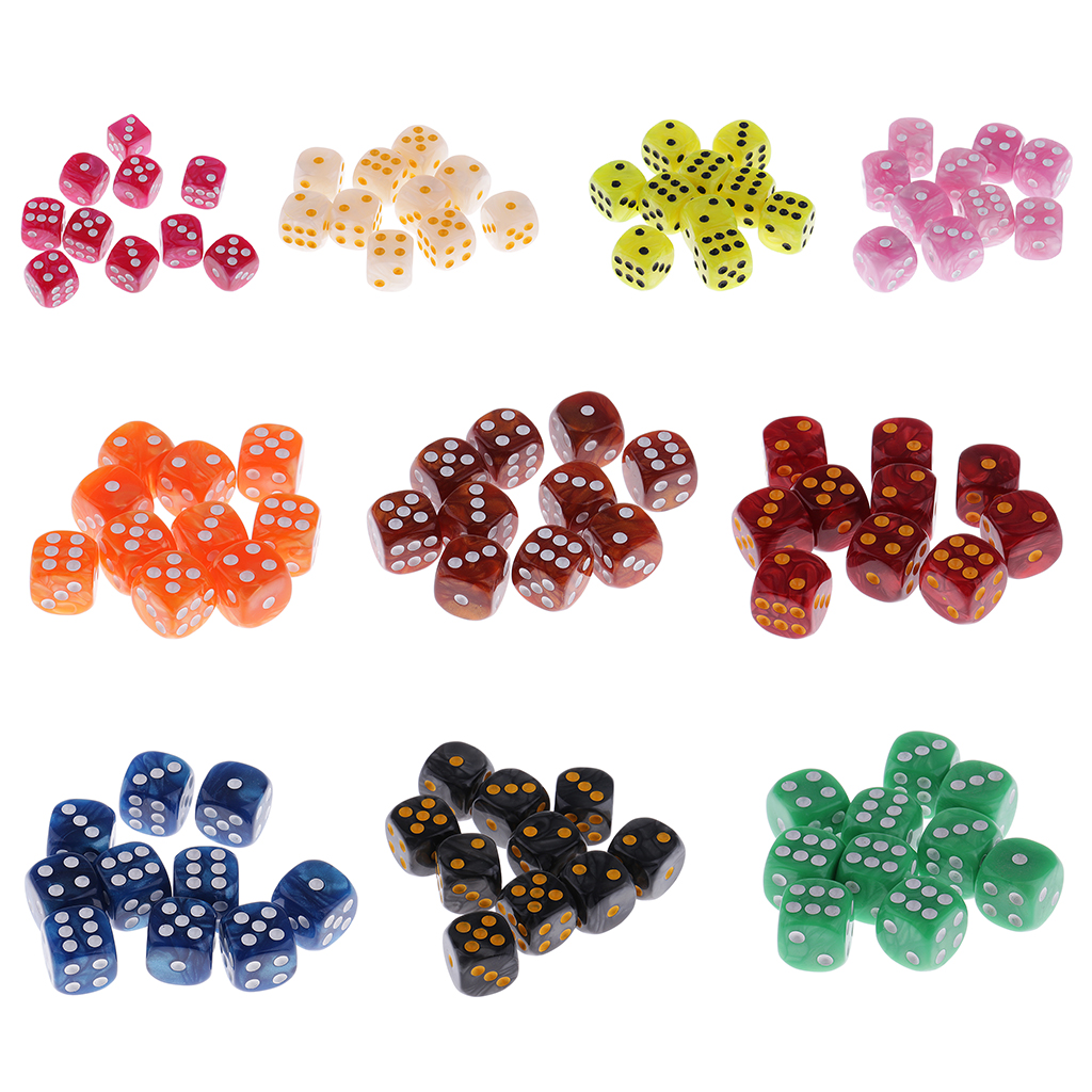 10pcs Plastic 6 Sided Spot Dice D6 Dices For Party Bar Table Board Game Accessory