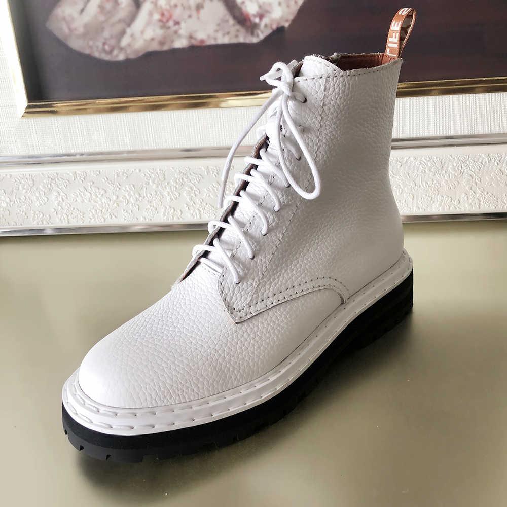 Plus Size 34-43 Nieuwe Lederen Vrouwen Martin Schoenen Ritsen Casual Laarzen Winter Warm Lace Up Enkellaarsjes dames Mode Laarzen
