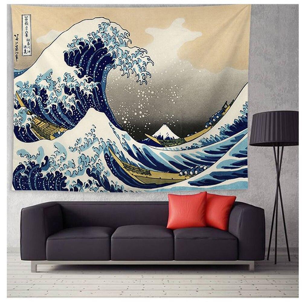 Japão kanagawa ondas impresso tapeçaria de suspensão baleia arowana tapeçarias boho colcha tapete yoga cobertor 200*148cm