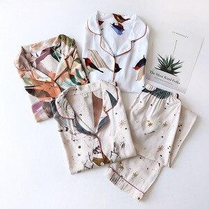 Cotton Pajamas Suit Ladies LongSleeved Trousers Pants Sleepwear Nightwear Women's Pajamas Home Wear Suit Autumn Winter 9C