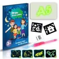 Draw With Light Glow In Dark Children Kids Paint Toy Luminous Drawing Board Sketchpad Set Gift Toys
