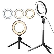 Mini lámpara de Anillo de luz LED para fotografía, 6 pulgadas, 3 modos de iluminación, Mini trípode de escritorio para Selfie, maquillaje, youtube