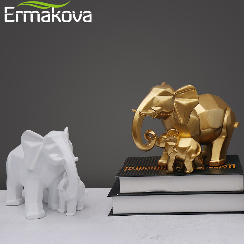 ERMAKOVA Nordic Resin Mother And Son Elephant Figurines Minimalist Geometry Animal Oranment Home Desktop Office Decoration Gift